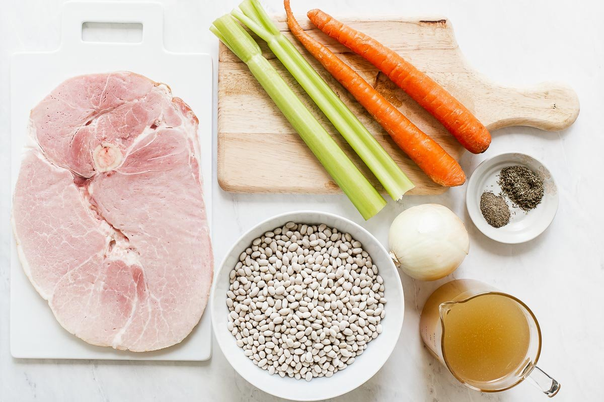 Ingredients for bean soup with ham.
