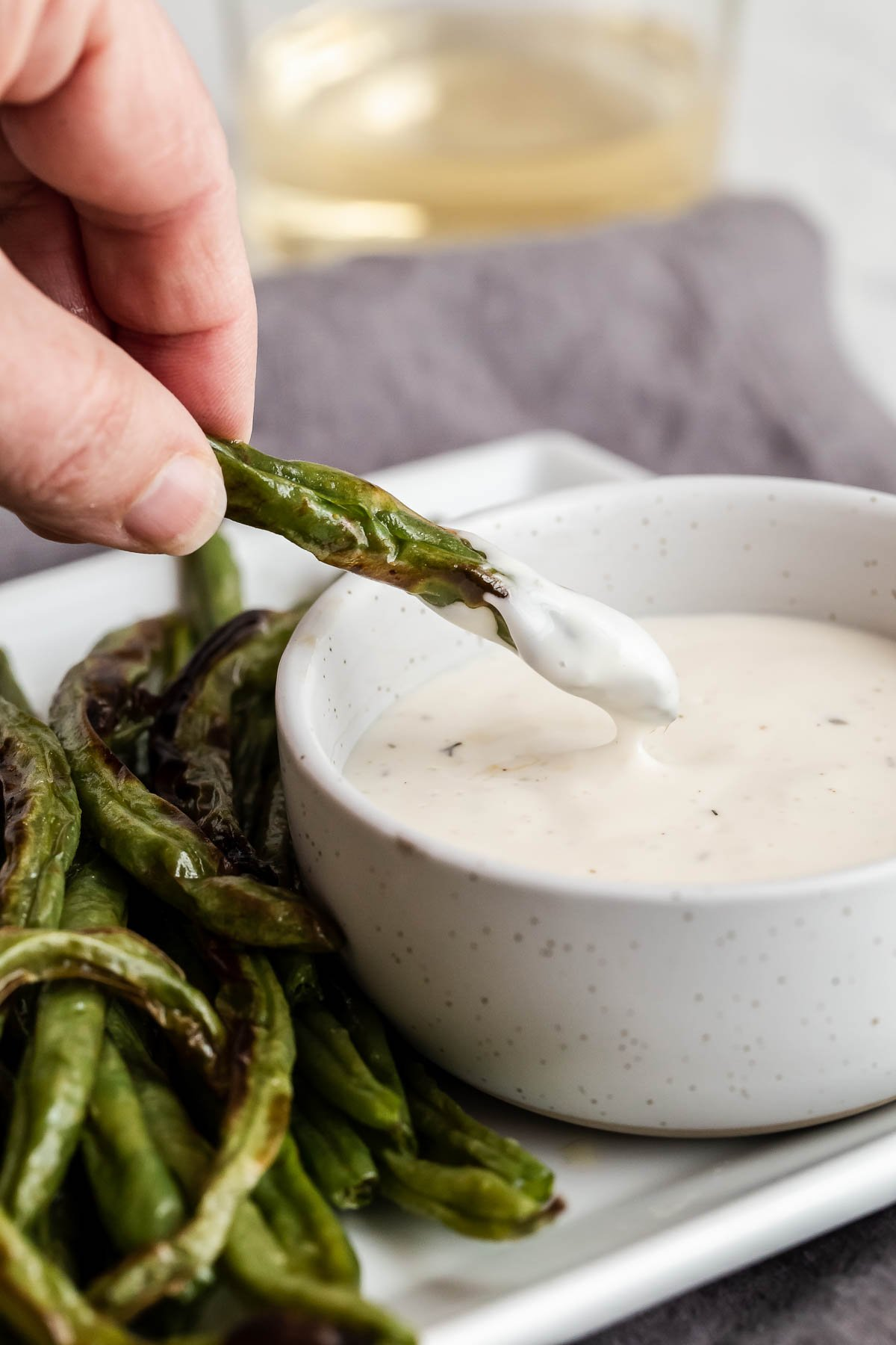Green bean dipped in ranch.