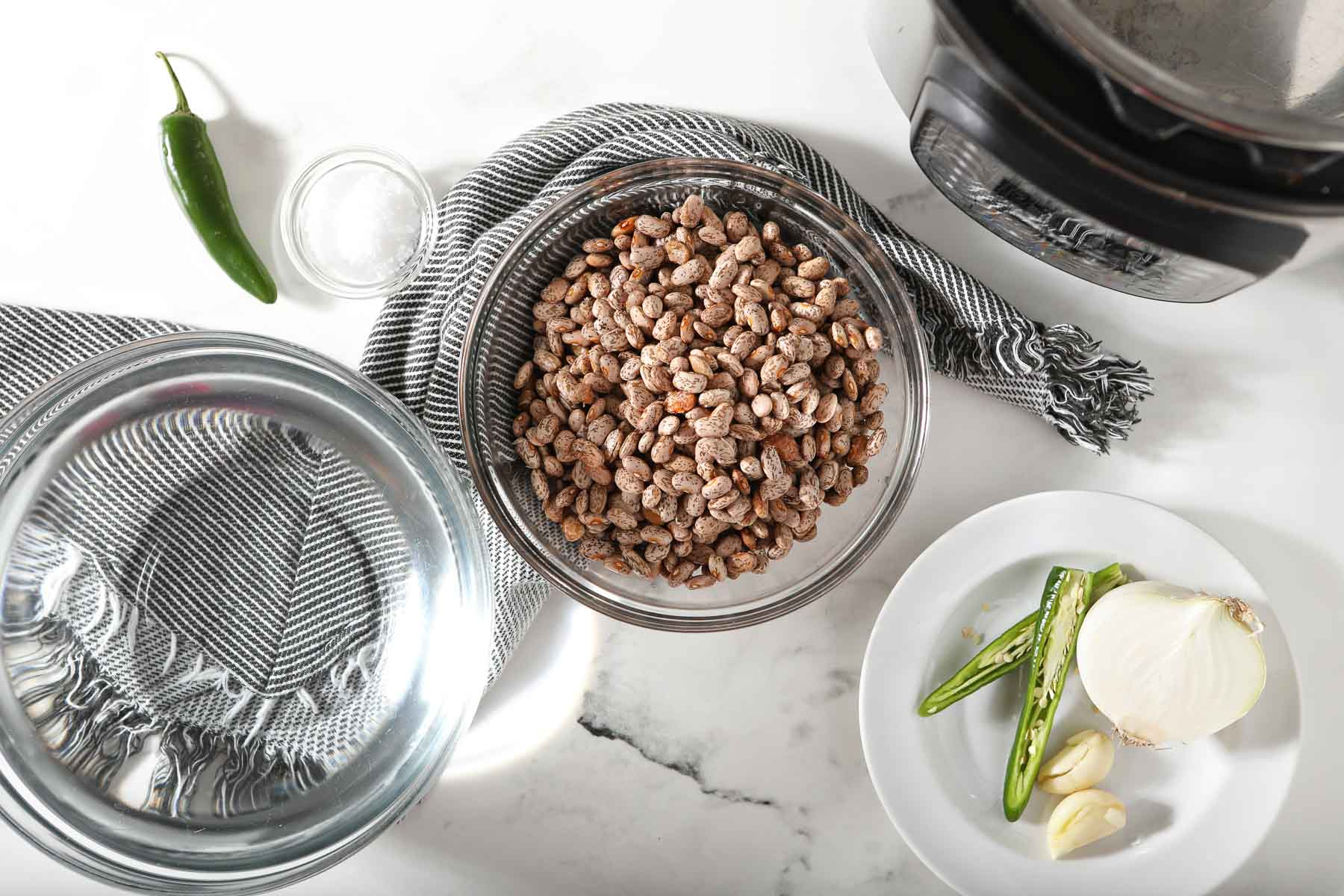 Ingredients for how to make instant pot pinto beans.