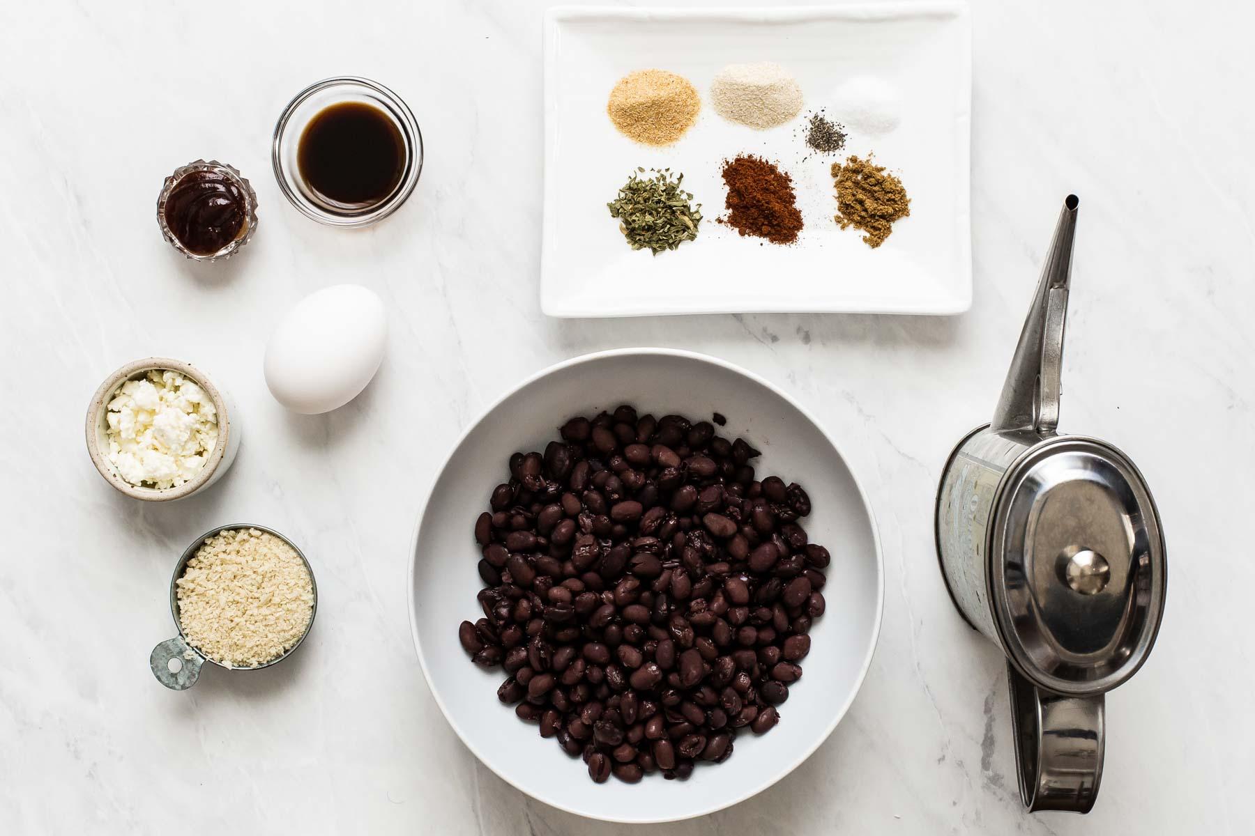 Ingredients for black bean burger recipe.