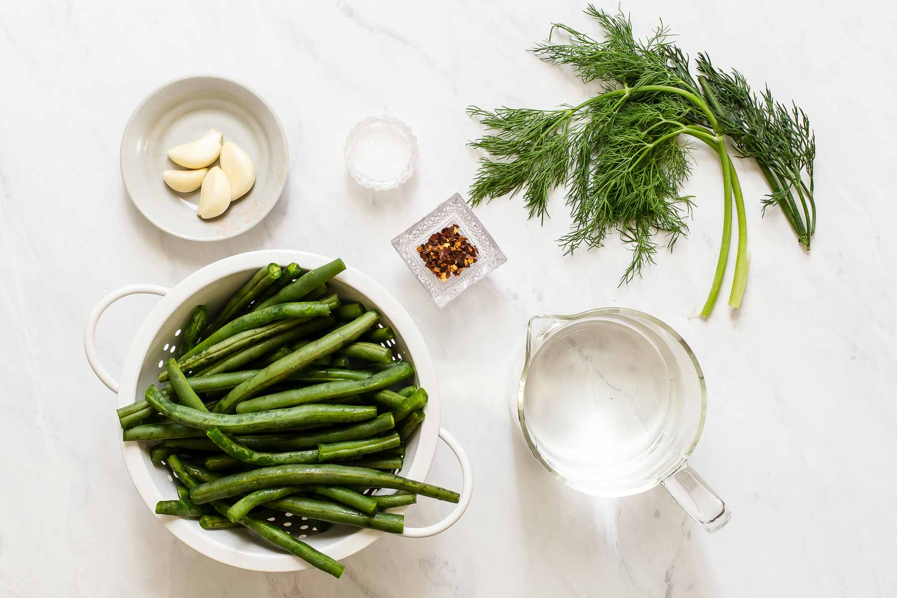 Ingredients for pickling green beans.