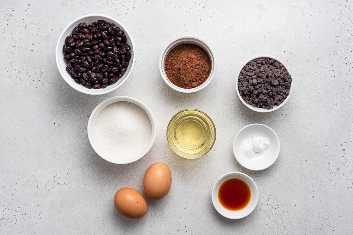 Ingredients for black bean brownies.